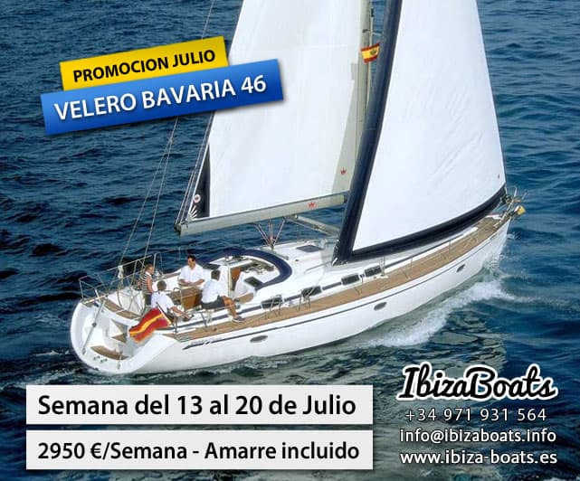 alquiler velero en ibiza bavaria 46 promoción julio 2013