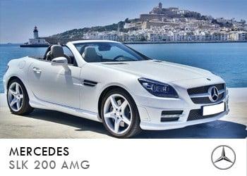 Alquiler de coche vip Mercedes SLK 200 AMG en Ibiza